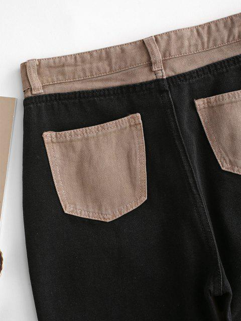 fancy Bicolor Patchwork Straight Jeans - COFFEE XS Mobile