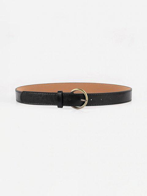 shop Metal Round Buckle PU Belt - BLACK  Mobile