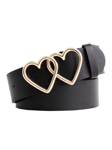 trendy Double Heart Ring Buckle Jeans Belt - BLACK  Mobile