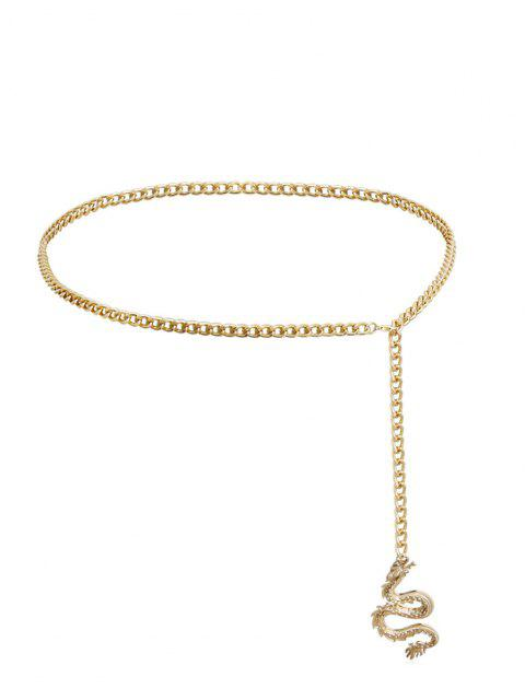 fashion Dragon Pattern Metal Chain Waist Belt - GOLDEN  Mobile