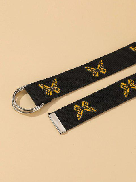 buy Butterfly Print D-Ring Casual Canvas Belt - BLACK  Mobile