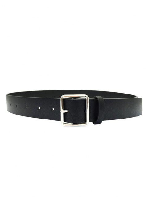 womens Square Buckle PU Leather Waist Belt - BLACK  Mobile