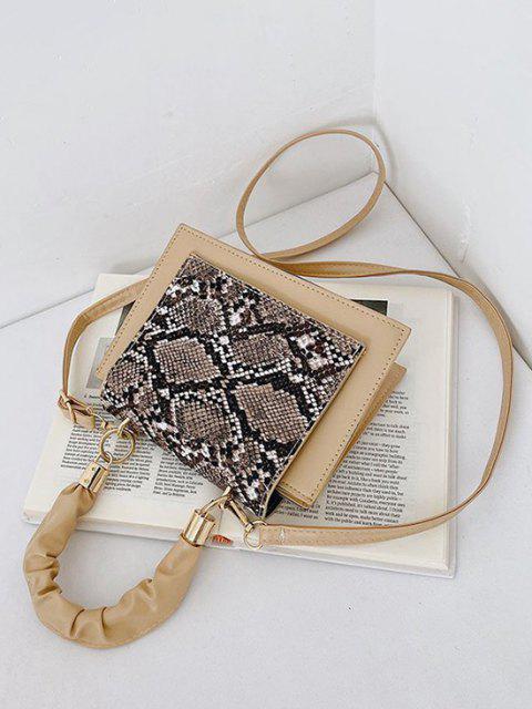 Borsa a Mano Quadrata con Stampa in Pelle di Serpente - Bianco caldo  Mobile