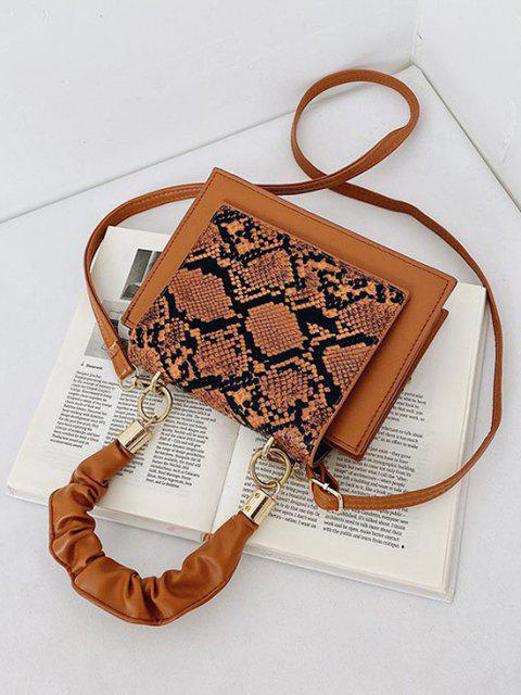 womens Snakeskin Pattern Cover Square Handbag - BROWN  Mobile