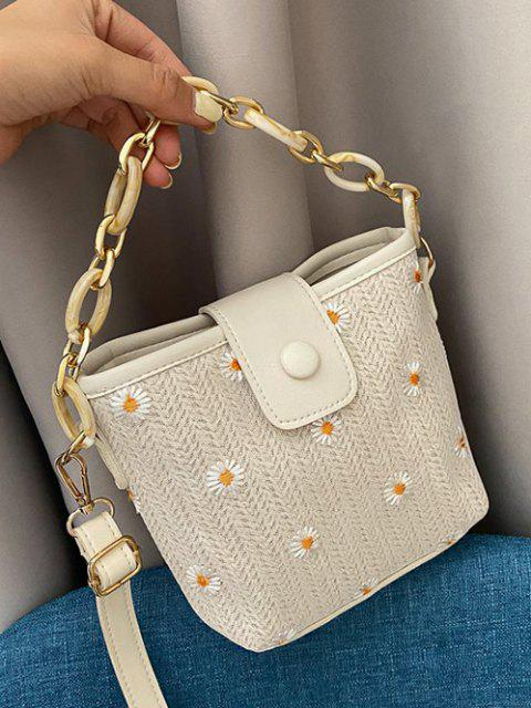 affordable Daisy Hemp Woven Spliced Shoulder Bag - WARM WHITE  Mobile