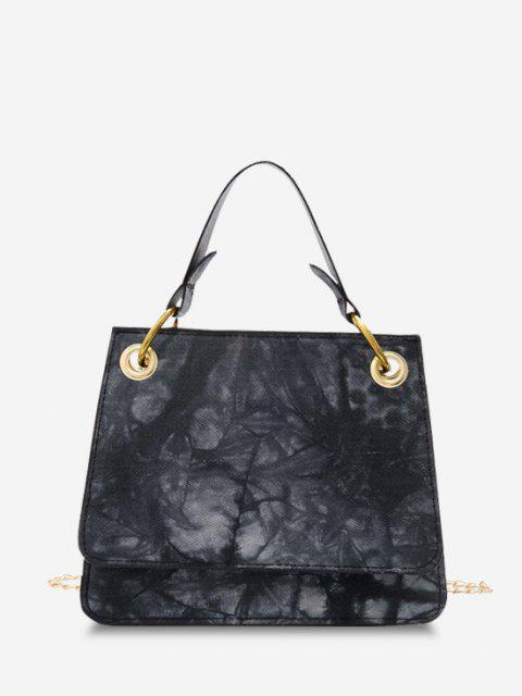 womens Tie Dye Dual Handle Square Crossbody Bag - BLACK  Mobile