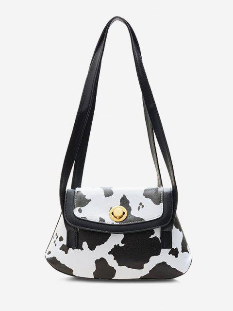 lady Cow Print Double Strap Flap Shoulder Bag - BLACK  Mobile
