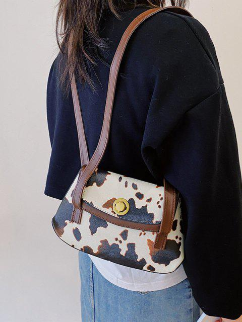 best Cow Print Double Strap Flap Shoulder Bag - DEEP BROWN  Mobile