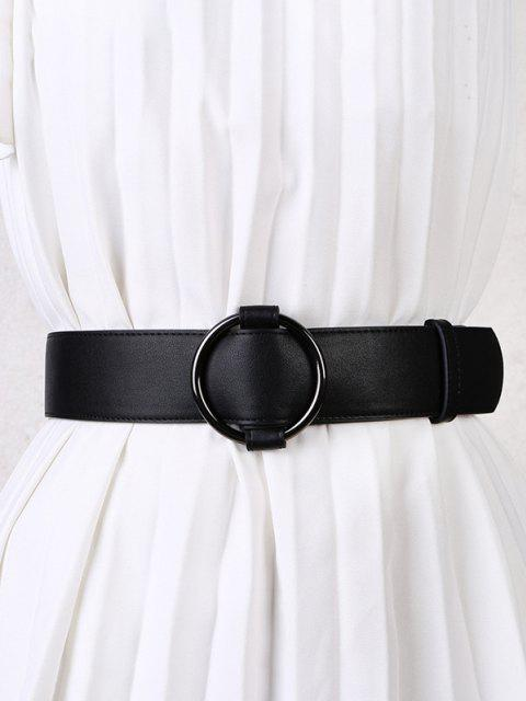 Solid Round Ring Buckle Dress Belt - أسود  Mobile