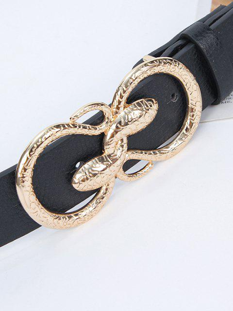 fancy Twining Snake Buckle Trousers Belt - BLACK  Mobile