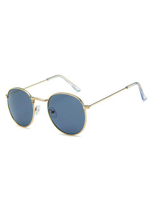 chic Oversize Round Frame Anti UV Metal Sunglasses - CHAMPAGNE GOLD  Mobile