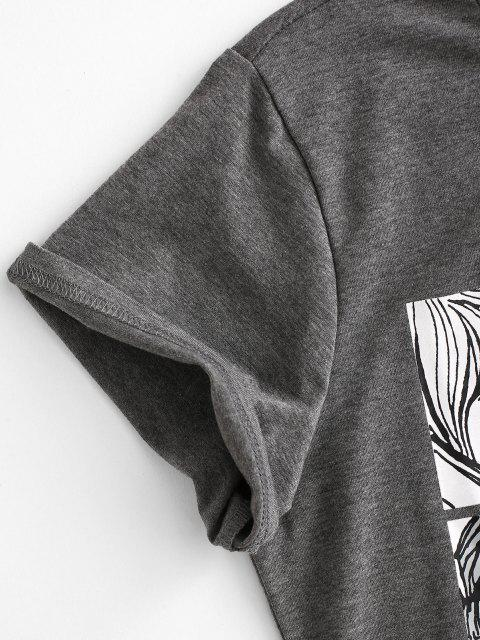 chic Cartoon Beauty Print T-shirt - DARK GRAY M Mobile