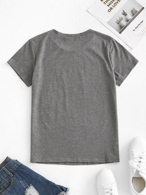 outfit Cartoon Beauty Print T-shirt - DARK GRAY S Mobile