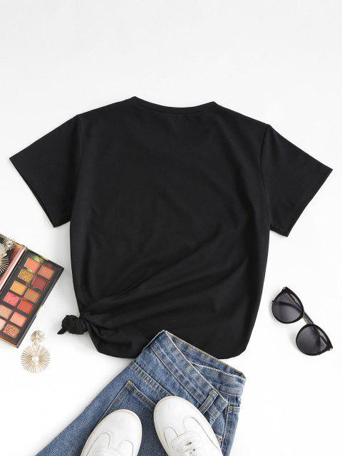 fashion Love Heart Print T-shirt - BLACK L Mobile