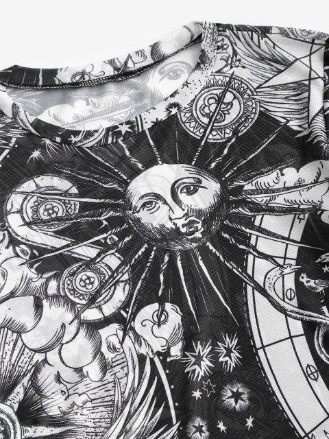 fancy Astrology Sun Print Mesh Lettuce-trim Baby Tee - BLACK M Mobile