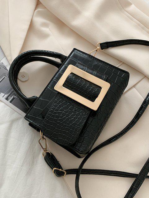 Geprägte Umhängetasche mit Zwei Griff - Schwarz  Mobile