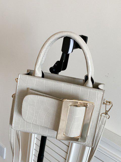 Sac à Bandoulière Bouclé Gaufré à Double Poignée - Blanc Froid  Mobile