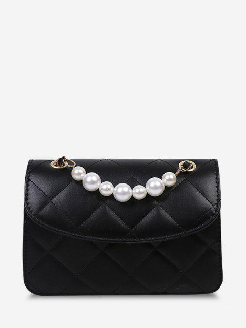 unique Lattice-Quilted Faux Pearl Flap Crossbody Bag - BLACK  Mobile