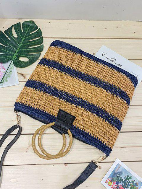 ladies Striped Straw Weave Crossbody Bag - LAPIS BLUE  Mobile