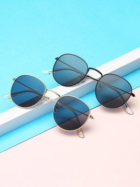 Brief Metal Circular Sunglasses - الشمبانيا الذهب  Mobile