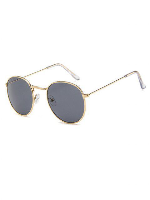 Kurze Metall Kreis Sonnenbrille - Champagner Gold  Mobile