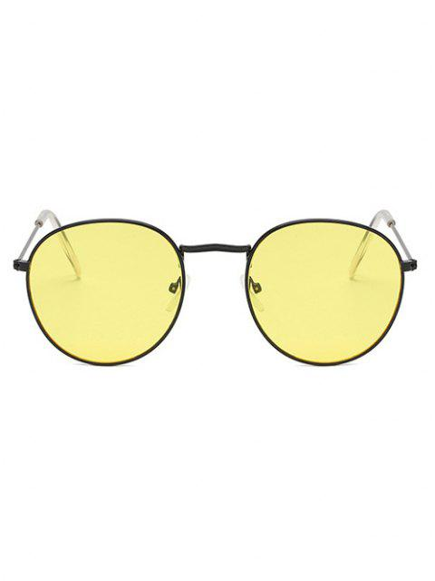 outfit Brief Metal Circular Sunglasses - GOLDENROD  Mobile