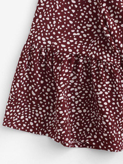 Mini Robe Plissée Superposée à Pois - Rouge foncé L Mobile
