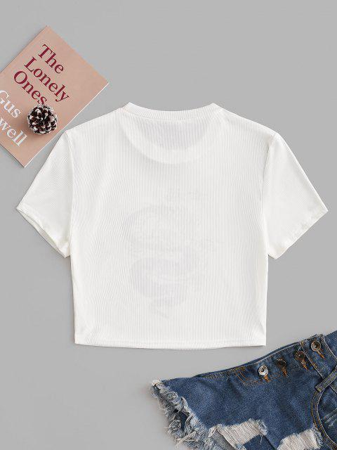 T-Shirt Casuale a Costine con Stampa Drago - Profondo rosso L Mobile