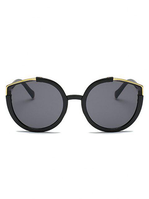 fancy Metal Splicing Frame Sunglasses - BLACK  Mobile