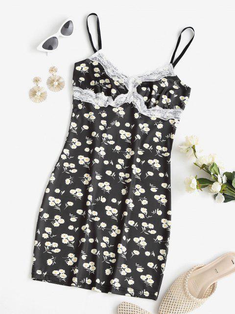 trendy Daisy Print Lace Trim Slinky Bodycon Dress - BLACK XL Mobile