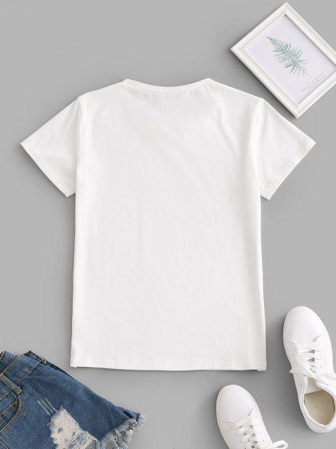 Camiseta de cervo com estampa de desenho animado - Branco L Mobile