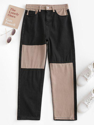 Bicolor Patchwork Straight Jeans - Coffee Xs
