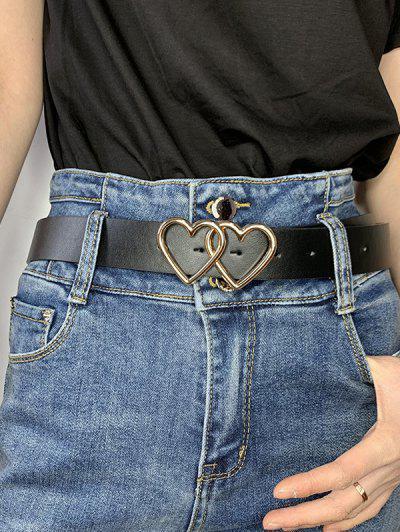 Double Heart Ring Buckle Jeans Belt - Black