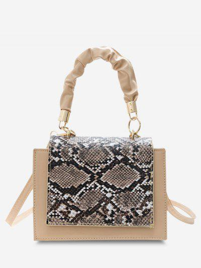 Snakeskin Pattern Cover Square Handbag - Warm White