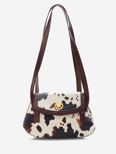 Cow Print Double Strap Flap Shoulder Bag - Deep Brown