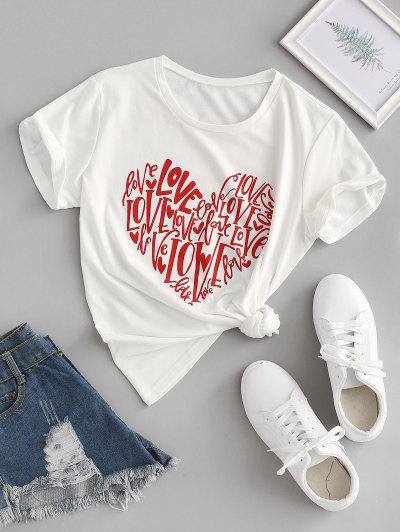 Love Heart Graphic Tee - White S