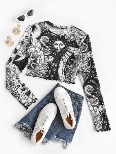 T-shirt Soleil Imprimé à Ourlet En Laitue En Maille - Noir S