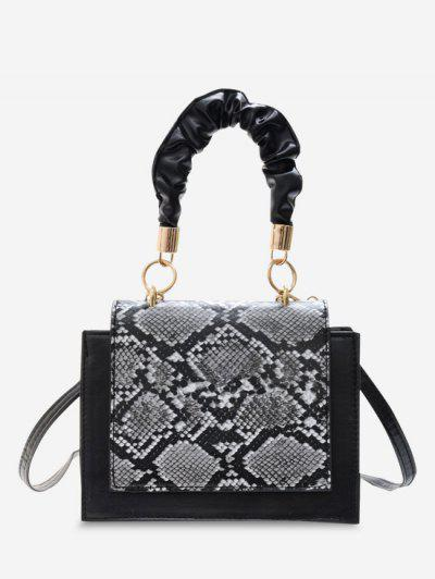 Snakeskin Pattern Cover Square Handbag - Black