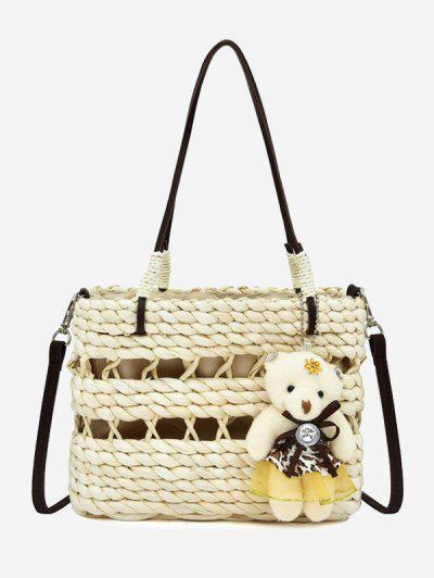 Beach Straw Weave Bear Pendant Bag - Warm White