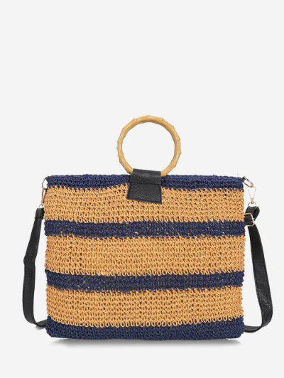 Striped Straw Weave Crossbody Bag - Lapis Blue