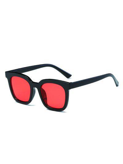 Retro Colored Lens Square Sunglasses - Black