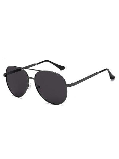 Oval Shape Metal Frame Crossbar Sunglasses - Black