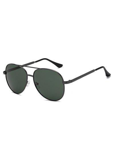 Oval Shape Metal Frame Crossbar Sunglasses - Dark Forest Green