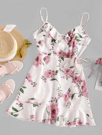 ZAFUL Flower Ruffle Wrap Dress - White S
