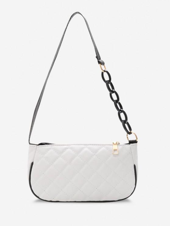 shop Lattice Quilted Half Chain Rectangular Shoulder Bag - WHITE
