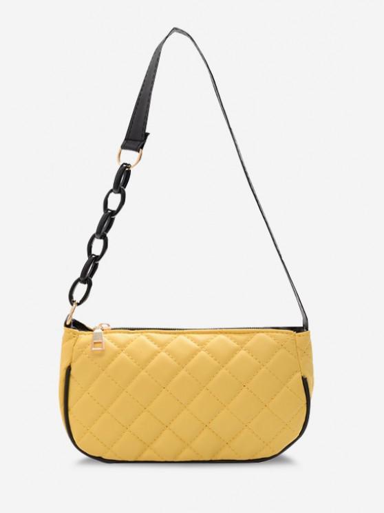 latest Lattice Quilted Half Chain Rectangular Shoulder Bag - SUN YELLOW