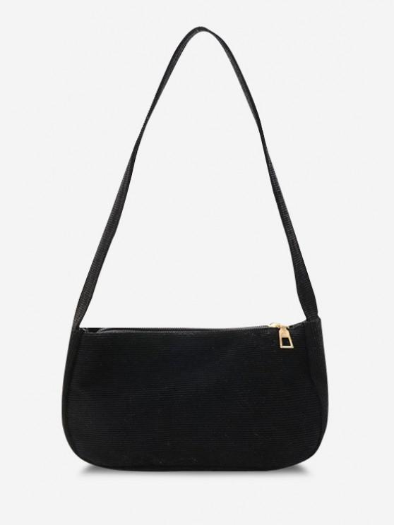 fashion Solid Corduroy Casual Mini Shoulder Bag - BLACK