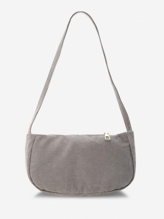 chic Solid Corduroy Casual Mini Shoulder Bag - GRAY GOOSE