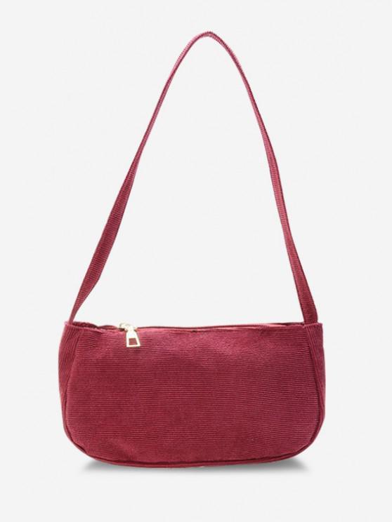 unique Solid Corduroy Casual Mini Shoulder Bag - RED WINE