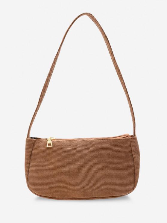 sale Solid Corduroy Casual Mini Shoulder Bag - LIGHT KHAKI